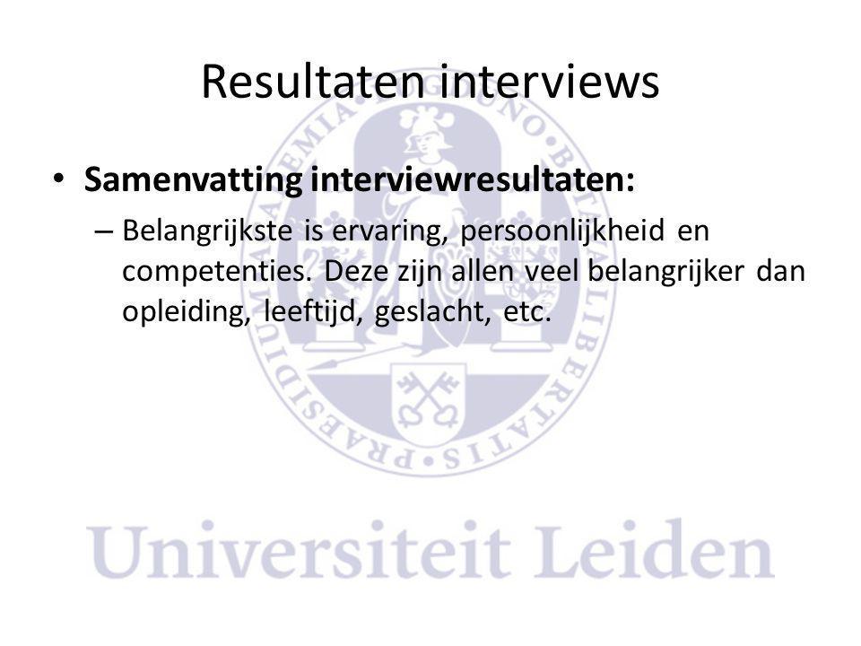 Resultaten interviews • Samenvatting interviewresultaten: – Belangrijkste is ervaring, persoonlijkheid en competenties.