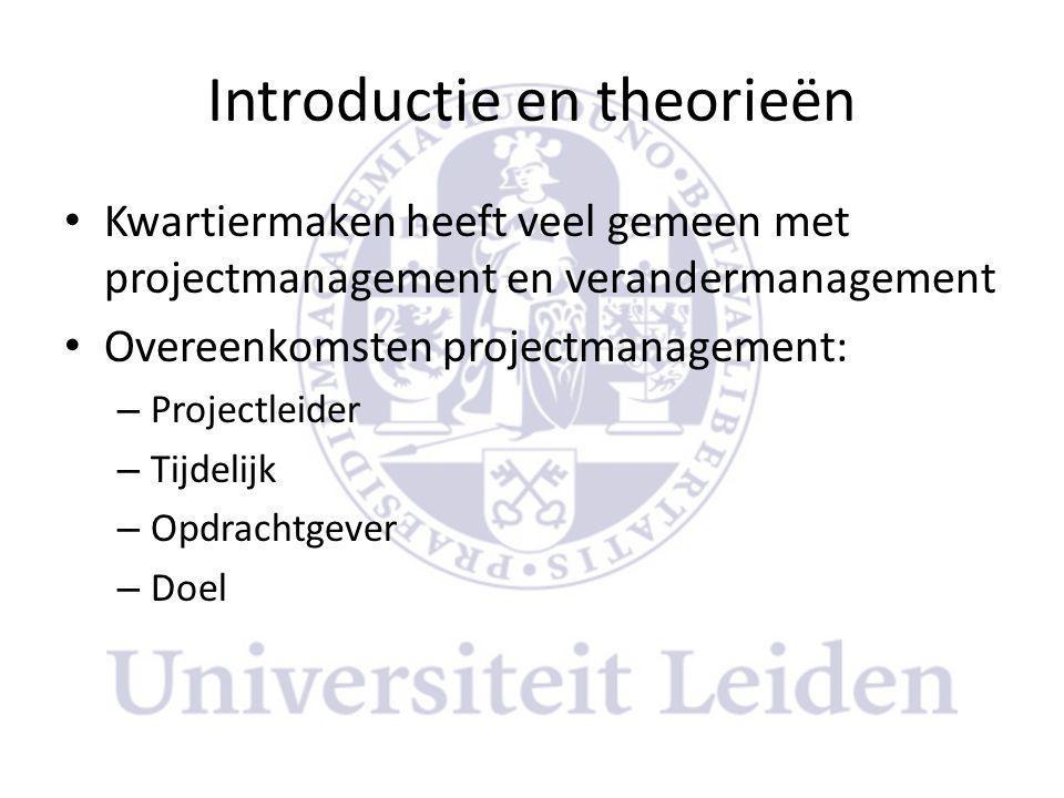 Introductie en theorieën • Kwartiermaken heeft veel gemeen met projectmanagement en verandermanagement • Overeenkomsten projectmanagement: – Projectleider – Tijdelijk – Opdrachtgever – Doel