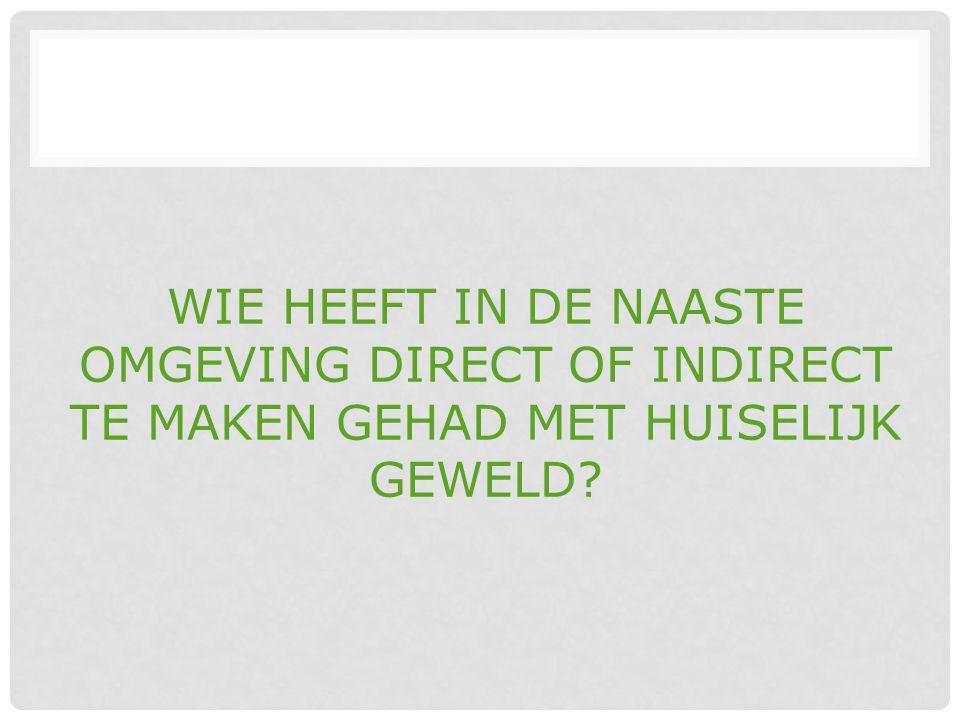WIE HEEFT IN DE NAASTE OMGEVING DIRECT OF INDIRECT TE MAKEN GEHAD MET HUISELIJK GEWELD?