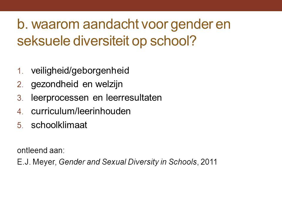 b. waarom aandacht voor gender en seksuele diversiteit op school? 1. veiligheid/geborgenheid 2. gezondheid en welzijn 3. leerprocessen en leerresultat