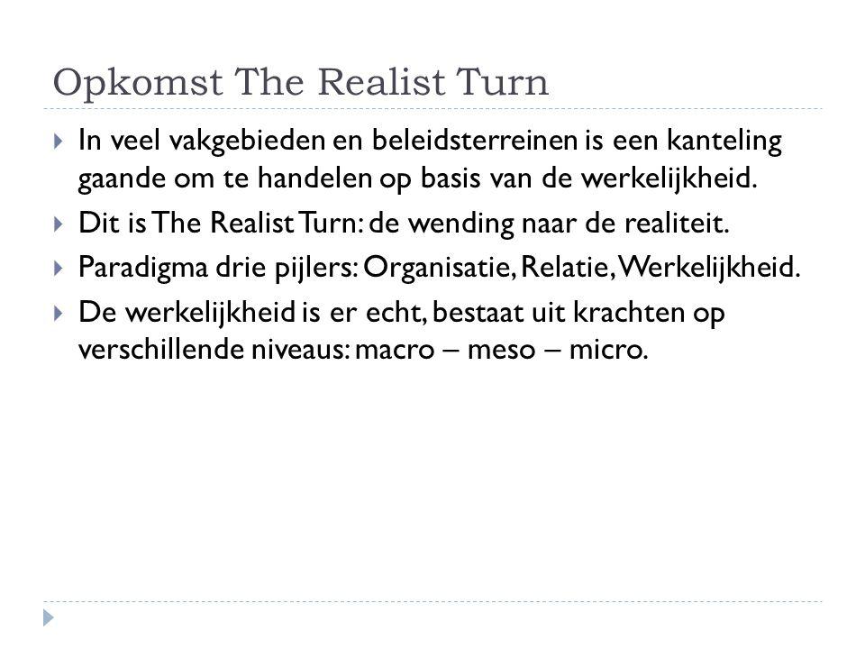 Opkomst The Realist Turn  In veel vakgebieden en beleidsterreinen is een kanteling gaande om te handelen op basis van de werkelijkheid.  Dit is The