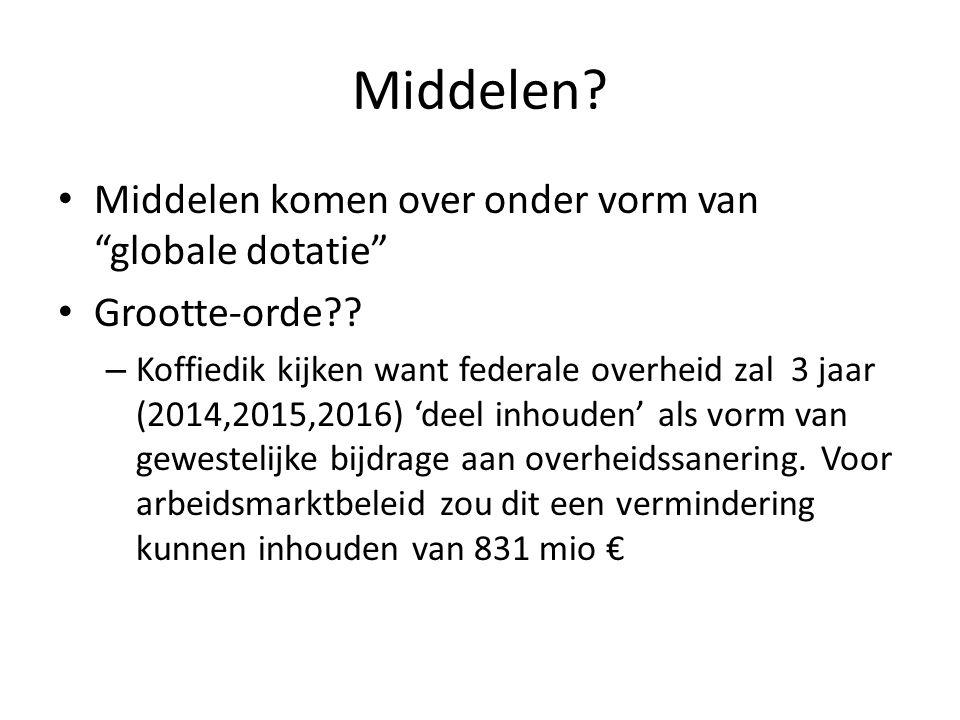 Middelen.• Middelen komen over onder vorm van globale dotatie • Grootte-orde?.