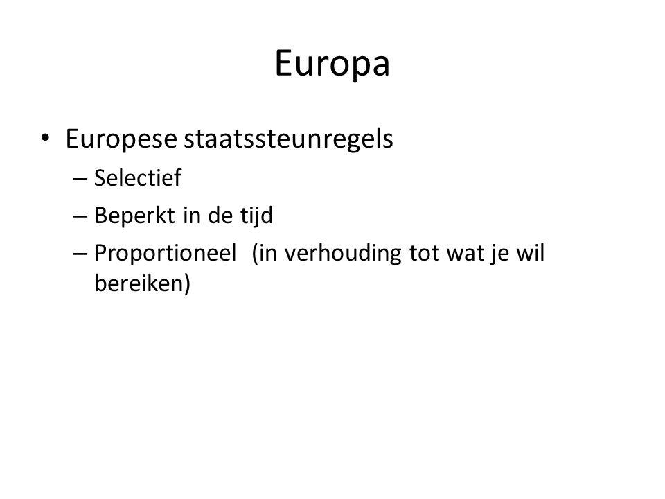 Europa • Europese staatssteunregels – Selectief – Beperkt in de tijd – Proportioneel (in verhouding tot wat je wil bereiken)