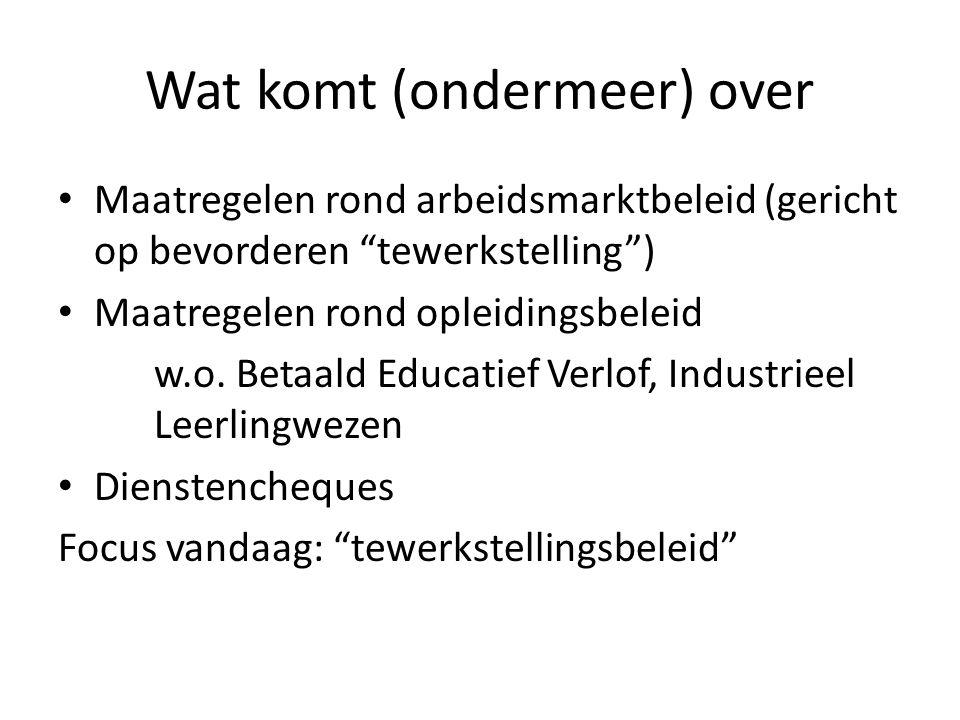 Wat komt (ondermeer) over • Maatregelen rond arbeidsmarktbeleid (gericht op bevorderen tewerkstelling ) • Maatregelen rond opleidingsbeleid w.o.