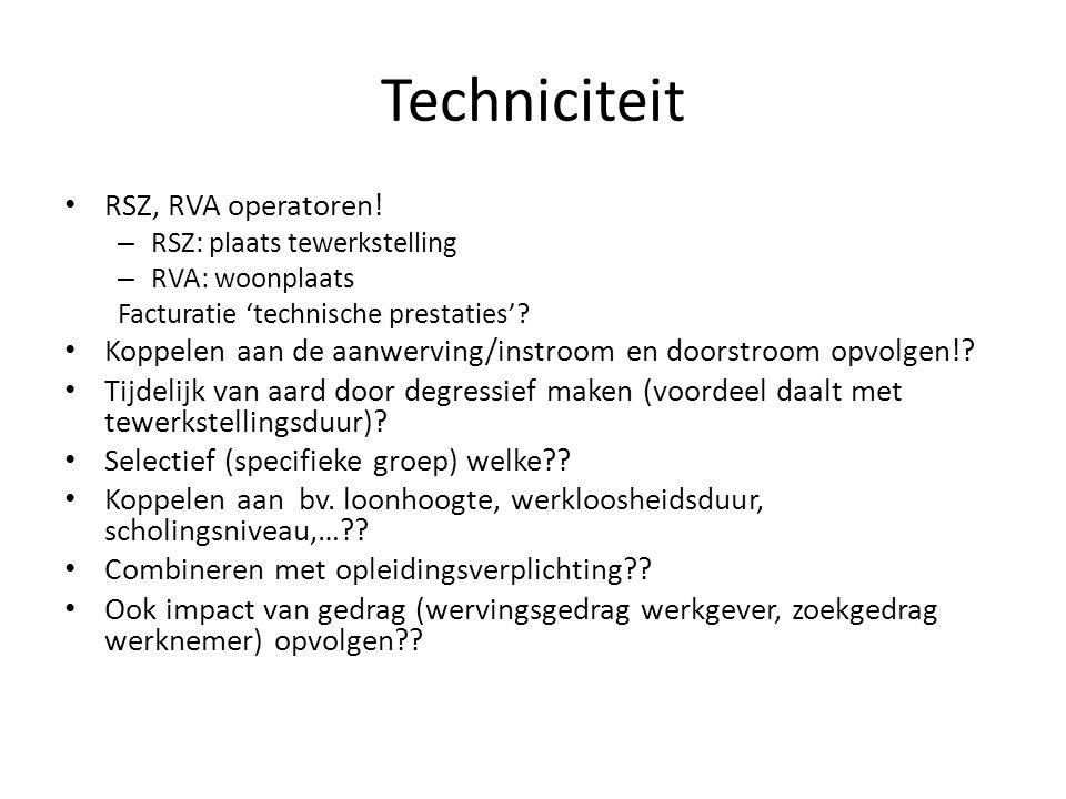 Techniciteit • RSZ, RVA operatoren! – RSZ: plaats tewerkstelling – RVA: woonplaats Facturatie 'technische prestaties'? • Koppelen aan de aanwerving/in