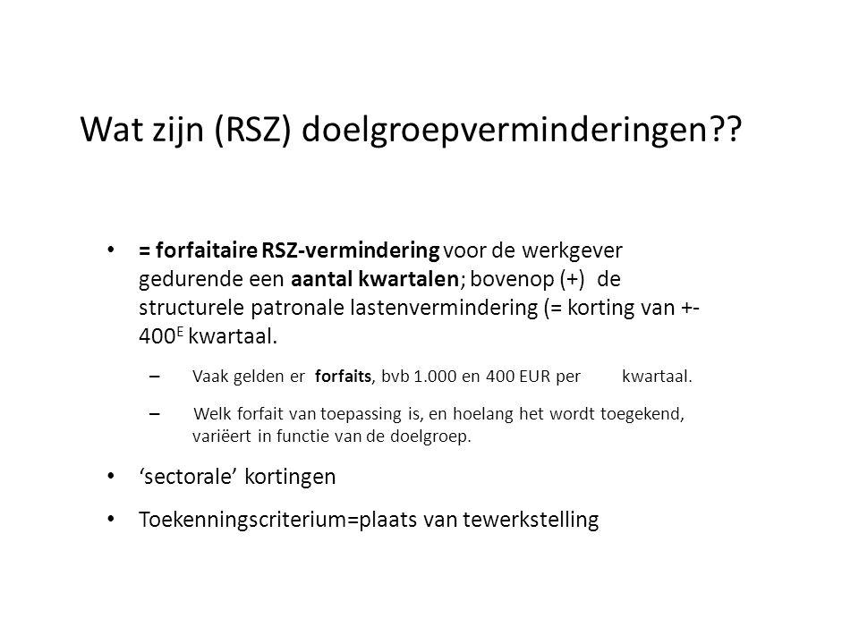Wat zijn (RSZ) doelgroepverminderingen?.