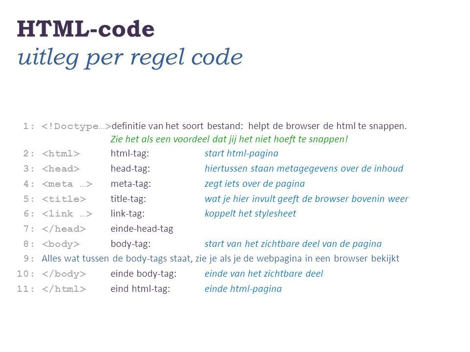 HTML-code uitleg per regel code 1: definitie van het soort bestand: helpt de browser de html te snappen. Zie het als een voordeel dat jij het niet hoe