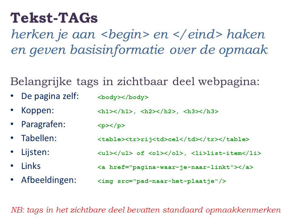 Tekst-TAGs herken je aan en haken en geven basisinformatie over de opmaak Belangrijke tags in zichtbaar deel webpagina: • De pagina zelf: • Koppen:,,