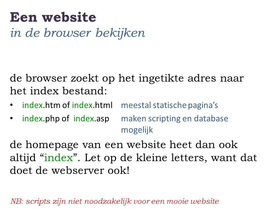 Een website in de browser bekijken de browser zoekt op het ingetikte adres naar het index bestand: • index.htm of index.htmlmeestal statische pagina's