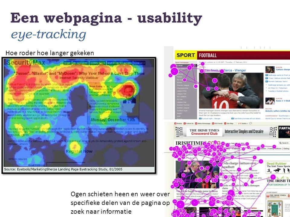 Een webpagina - usability eye-tracking Hoe roder hoe langer gekeken Ogen schieten heen en weer over specifieke delen van de pagina op zoek naar inform