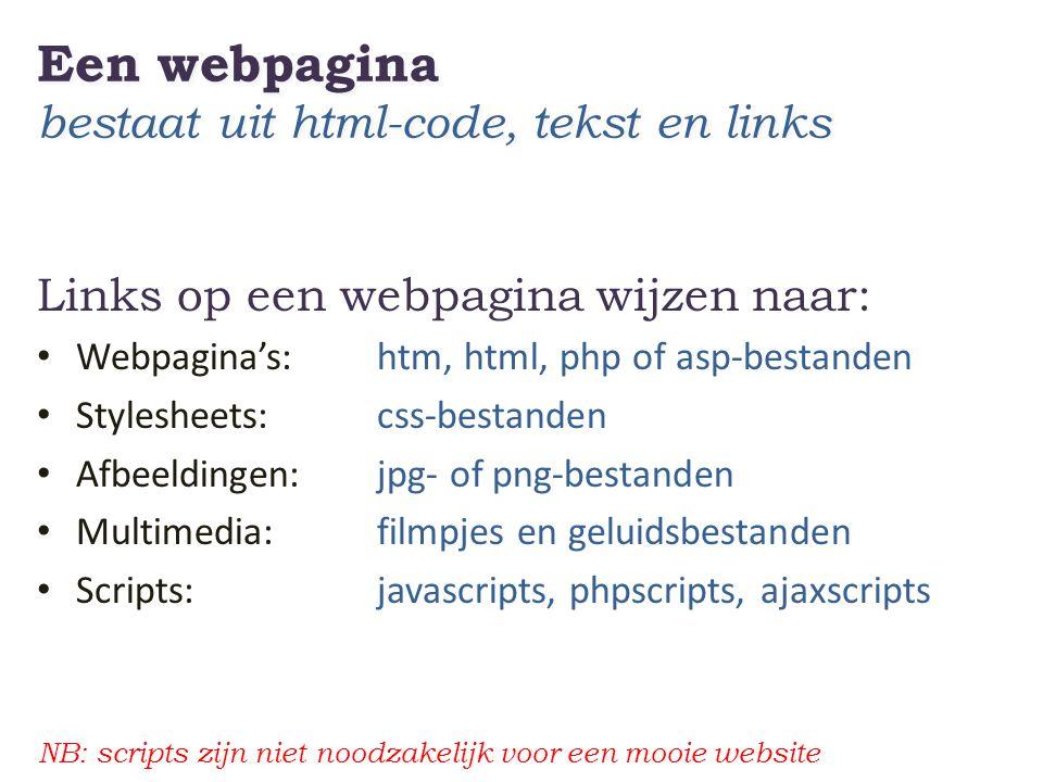 Een webpagina bestaat uit html-code, tekst en links Links op een webpagina wijzen naar: • Webpagina's: htm, html, php of asp-bestanden • Stylesheets: