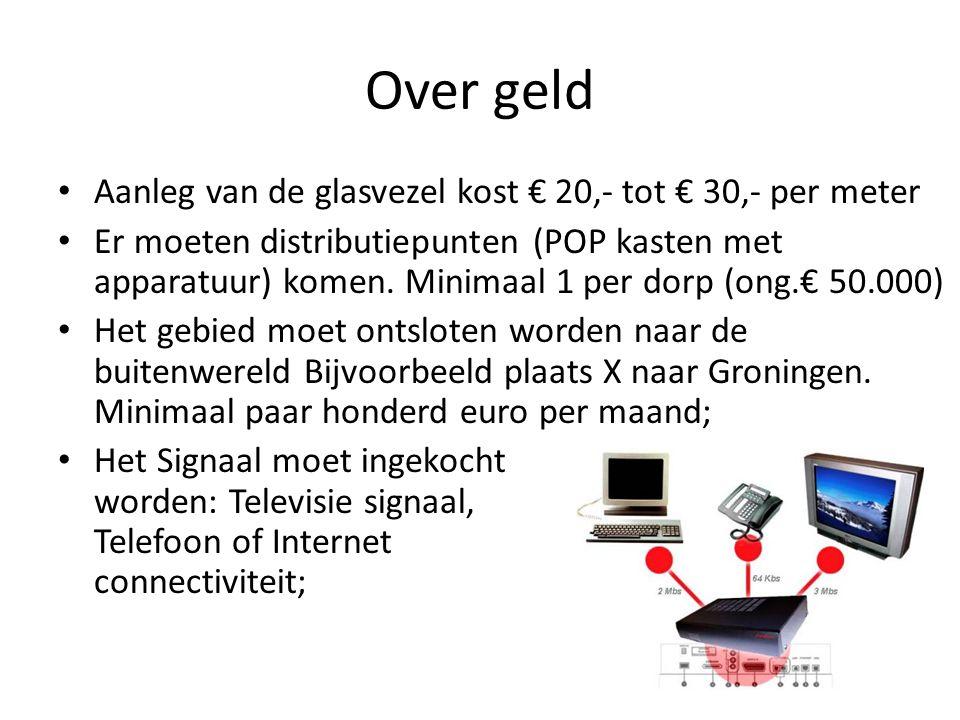 Over geld • Aanleg van de glasvezel kost € 20,- tot € 30,- per meter • Er moeten distributiepunten (POP kasten met apparatuur) komen. Minimaal 1 per d