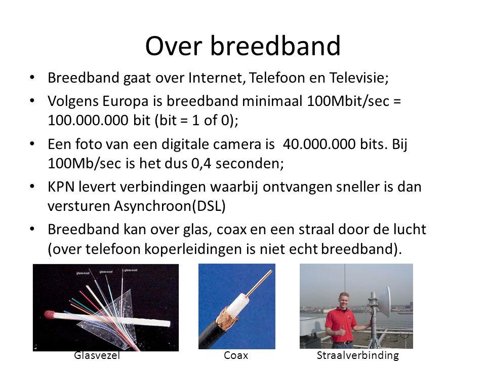 Over breedband • Breedband gaat over Internet, Telefoon en Televisie; • Volgens Europa is breedband minimaal 100Mbit/sec = 100.000.000 bit (bit = 1 of 0); • Een foto van een digitale camera is 40.000.000 bits.