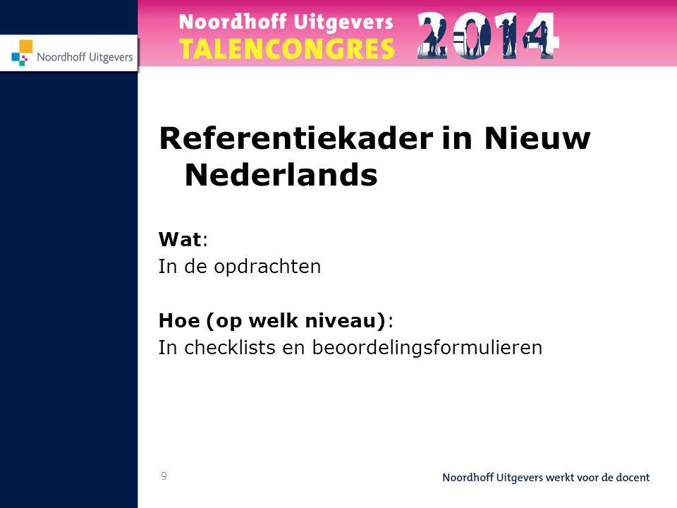 9 Referentiekader in Nieuw Nederlands Wat: In de opdrachten Hoe (op welk niveau): In checklists en beoordelingsformulieren