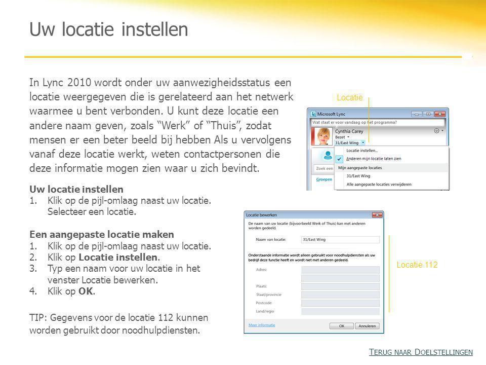Uw locatie instellen In Lync 2010 wordt onder uw aanwezigheidsstatus een locatie weergegeven die is gerelateerd aan het netwerk waarmee u bent verbonden.