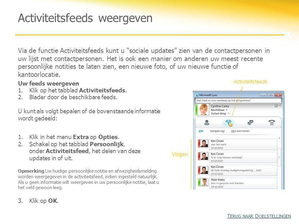 Activiteitsfeeds weergeven Via de functie Activiteitsfeeds kunt u sociale updates zien van de contactpersonen in uw lijst met contactpersonen.
