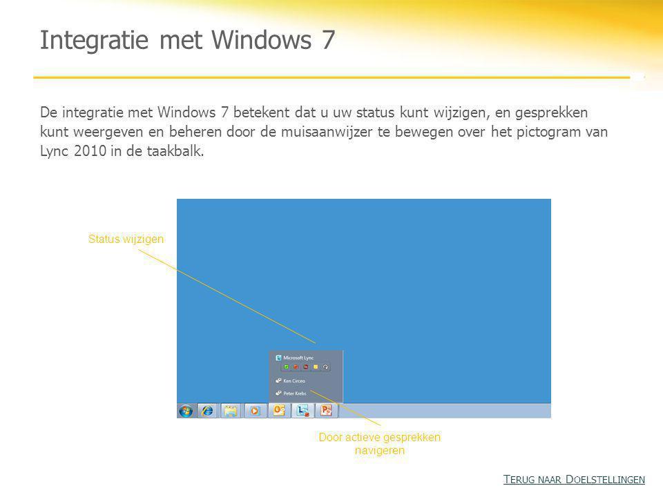Integratie met Windows 7 De integratie met Windows 7 betekent dat u uw status kunt wijzigen, en gesprekken kunt weergeven en beheren door de muisaanwijzer te bewegen over het pictogram van Lync 2010 in de taakbalk.