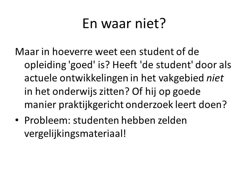 En waar niet? Maar in hoeverre weet een student of de opleiding 'goed' is? Heeft 'de student' door als actuele ontwikkelingen in het vakgebied niet in