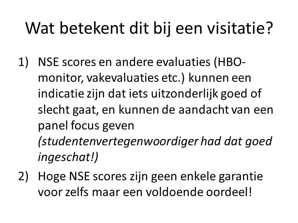 Wat betekent dit bij een visitatie? 1)NSE scores en andere evaluaties (HBO- monitor, vakevaluaties etc.) kunnen een indicatie zijn dat iets uitzonderl