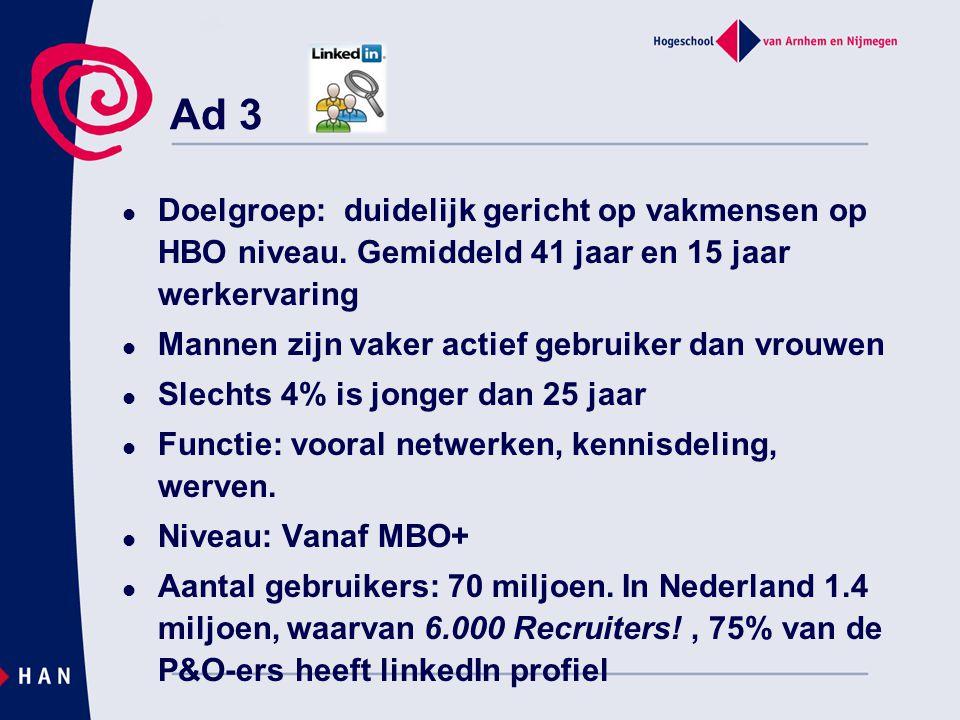 Ad 3  Doelgroep: duidelijk gericht op vakmensen op HBO niveau. Gemiddeld 41 jaar en 15 jaar werkervaring  Mannen zijn vaker actief gebruiker dan vro