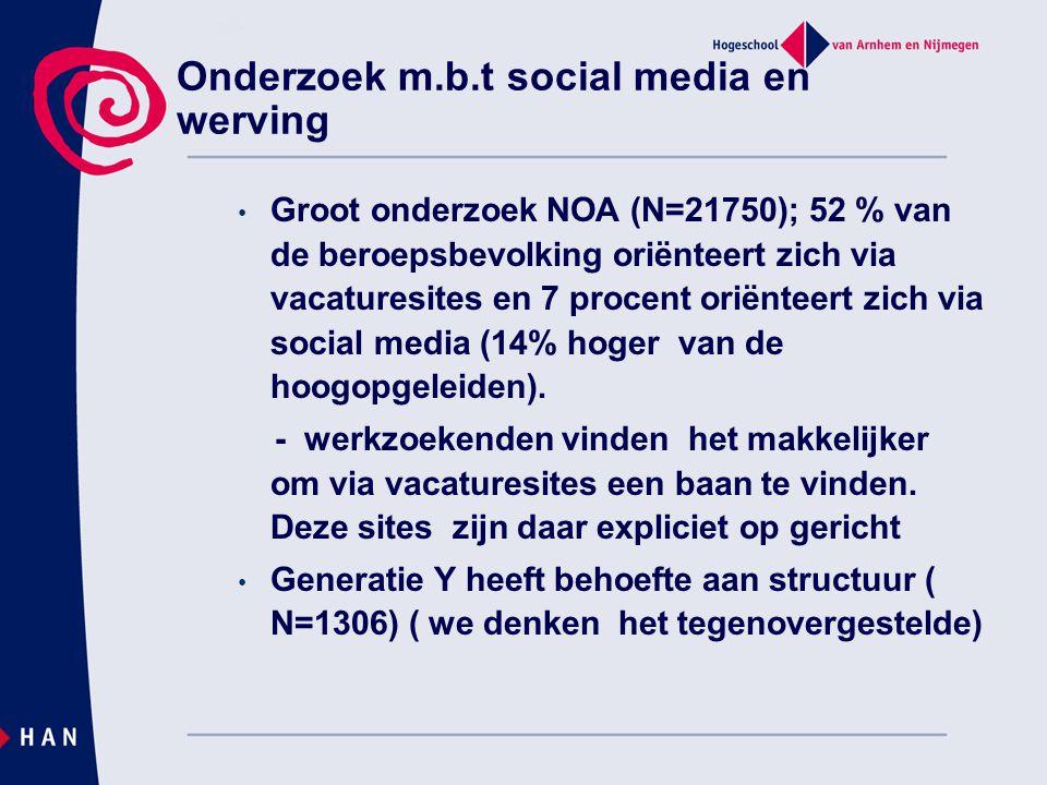 Onderzoek m.b.t social media en werving • Groot onderzoek NOA (N=21750); 52 % van de beroepsbevolking oriënteert zich via vacaturesites en 7 procent oriënteert zich via social media (14% hoger van de hoogopgeleiden).