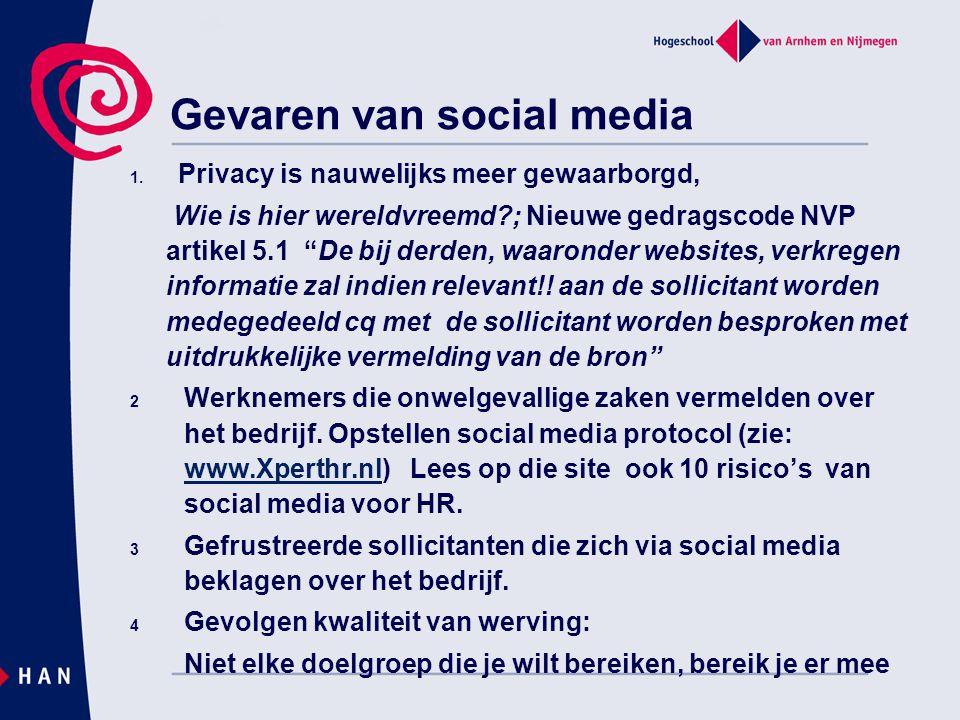 """Gevaren van social media 1. Privacy is nauwelijks meer gewaarborgd, Wie is hier wereldvreemd?; Nieuwe gedragscode NVP artikel 5.1 """"De bij derden, waar"""