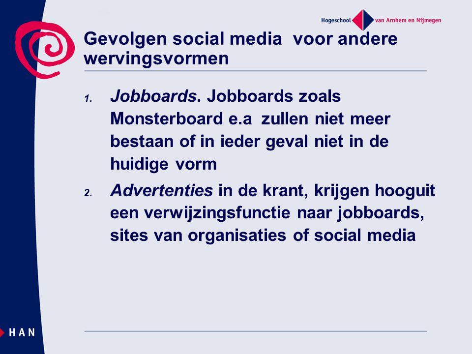 Gevolgen social media voor andere wervingsvormen 1. Jobboards. Jobboards zoals Monsterboard e.a zullen niet meer bestaan of in ieder geval niet in de