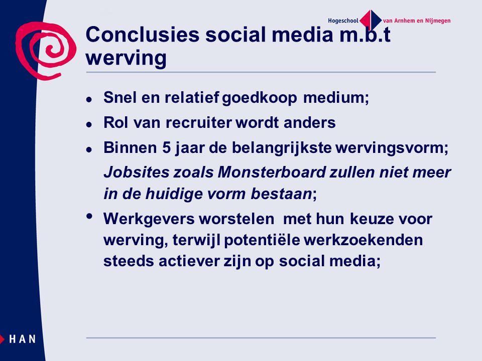 Conclusies social media m.b.t werving  Snel en relatief goedkoop medium;  Rol van recruiter wordt anders  Binnen 5 jaar de belangrijkste wervingsvo