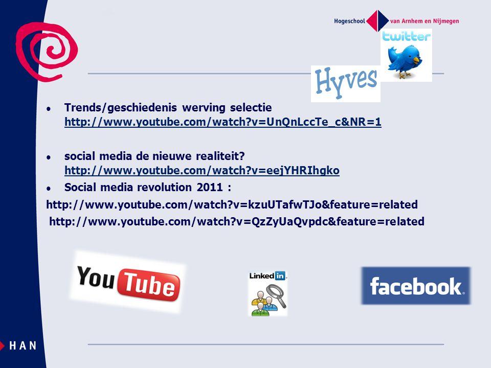  Trends/geschiedenis werving selectie http://www.youtube.com/watch?v=UnQnLccTe_c&NR=1 http://www.youtube.com/watch?v=UnQnLccTe_c&NR=1  social media