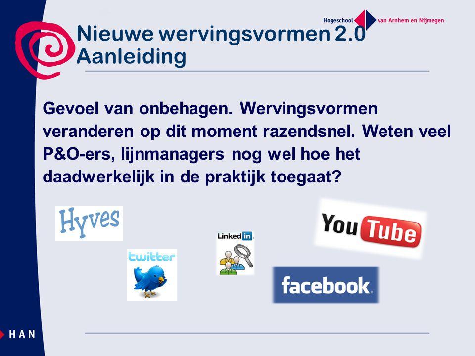 Nieuwe wervingsvormen 2.0 Agenda  Hoe worden social media gebruikt m.b.t werving.