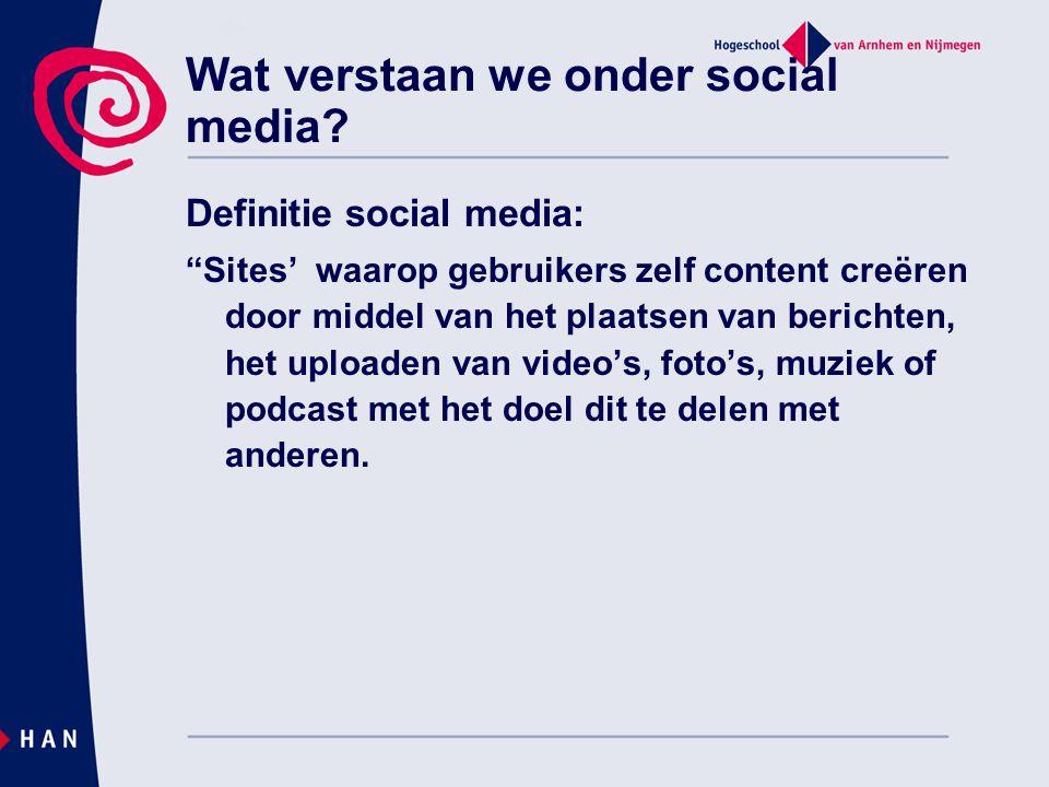 """Wat verstaan we onder social media? Definitie social media: """"Sites' waarop gebruikers zelf content creëren door middel van het plaatsen van berichten,"""
