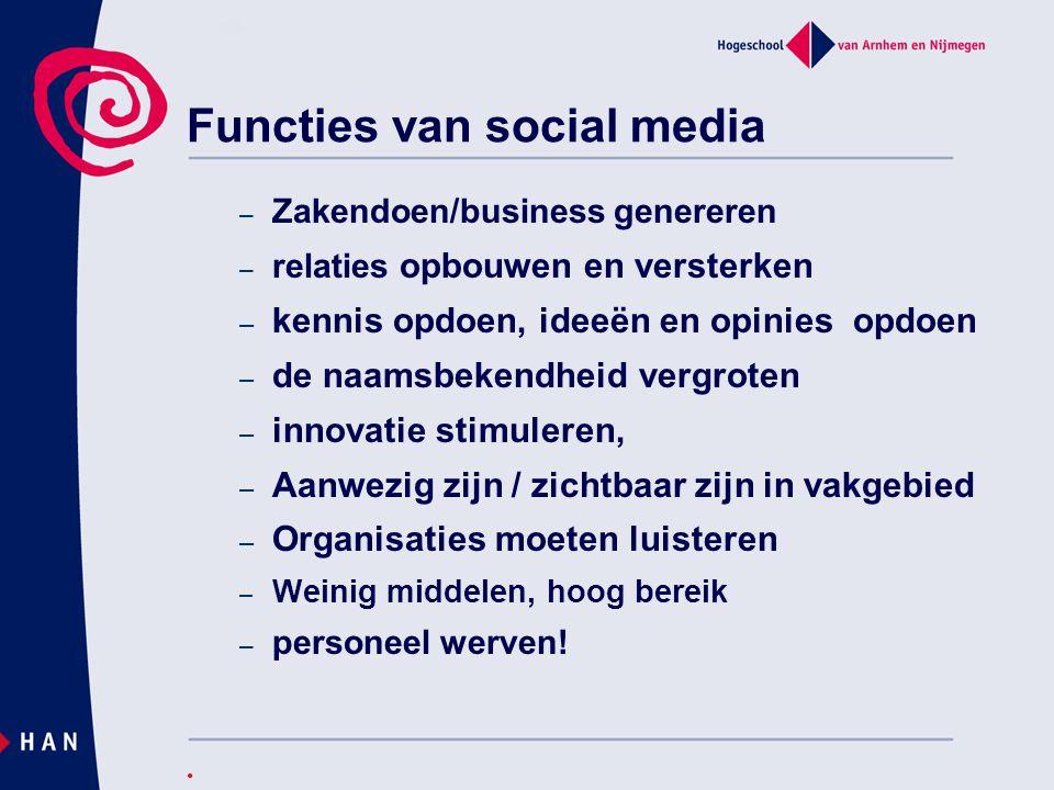Functies van social media – Zakendoen/business genereren – relaties opbouwen en versterken – kennis opdoen, ideeën en opinies opdoen – de naamsbekendh