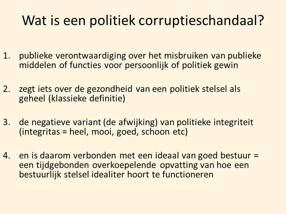 Wat is een politiek corruptieschandaal? 1.publieke verontwaardiging over het misbruiken van publieke middelen of functies voor persoonlijk of politiek
