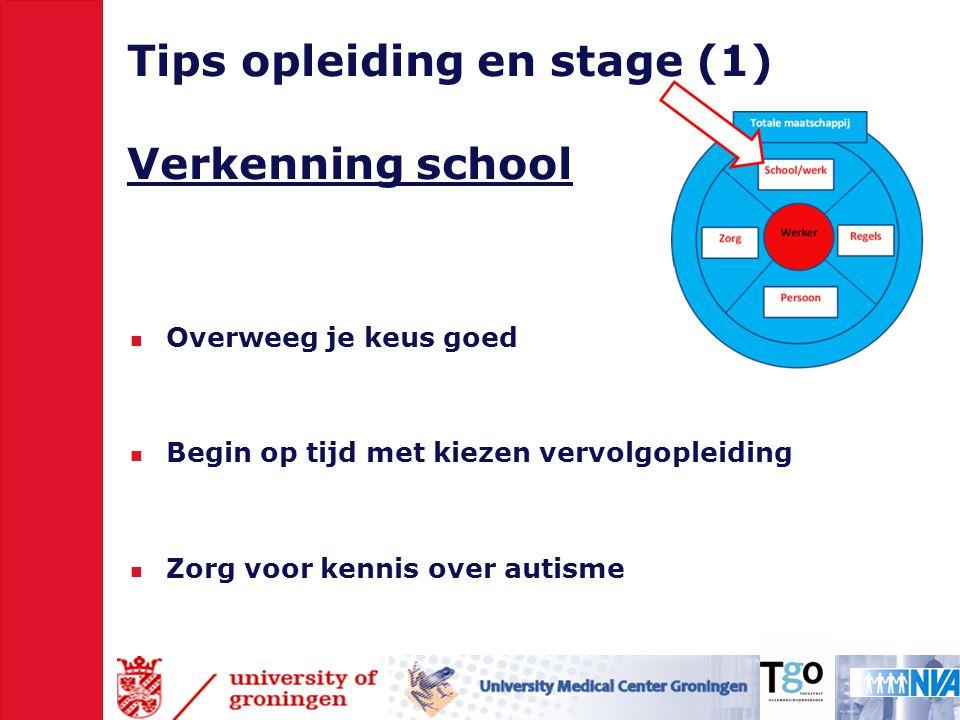 Tips opleiding en stage (1) Verkenning school  Overweeg je keus goed  Begin op tijd met kiezen vervolgopleiding  Zorg voor kennis over autisme