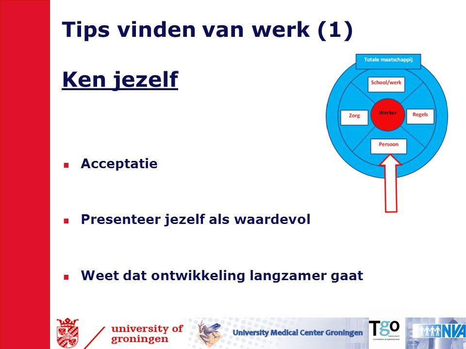 Tips vinden van werk (1) Ken jezelf  Acceptatie  Presenteer jezelf als waardevol  Weet dat ontwikkeling langzamer gaat