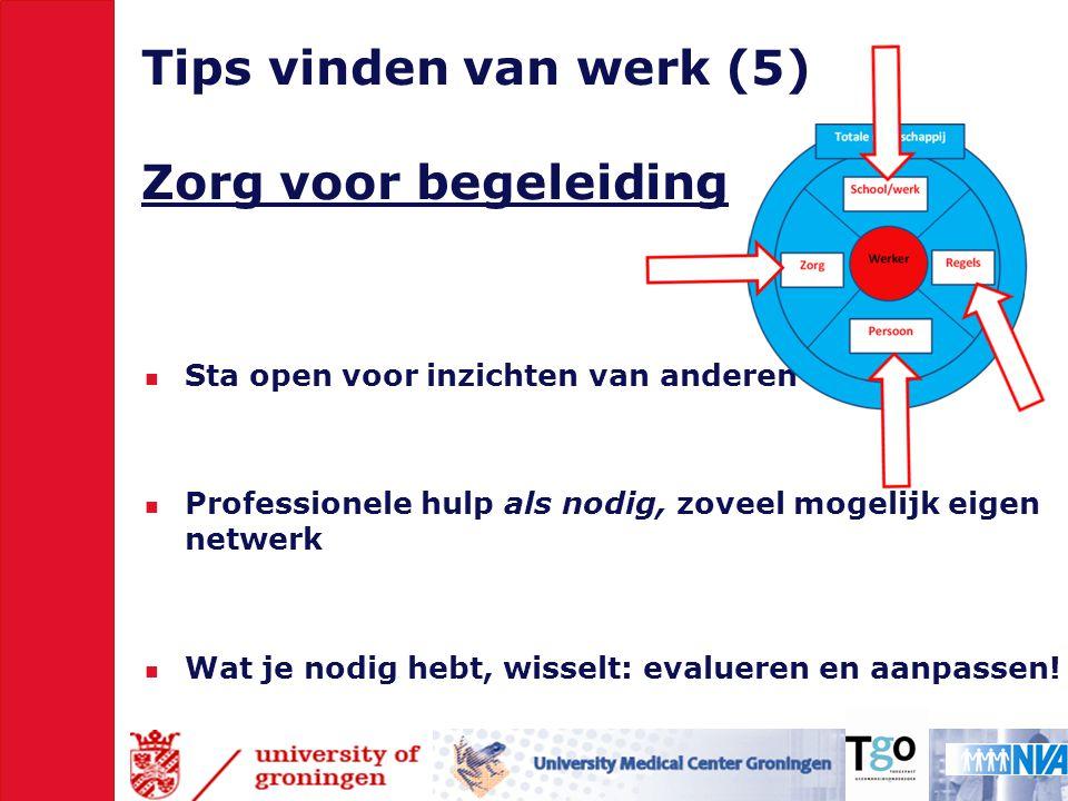 Tips vinden van werk (5) Zorg voor begeleiding  Sta open voor inzichten van anderen  Professionele hulp als nodig, zoveel mogelijk eigen netwerk  Wat je nodig hebt, wisselt: evalueren en aanpassen!