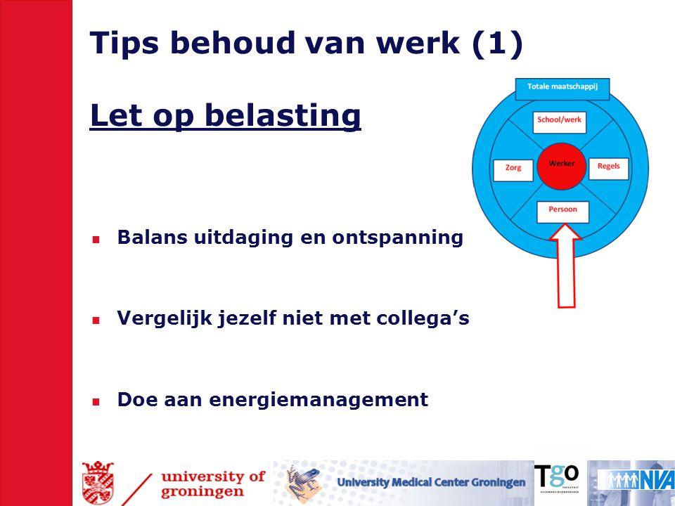 Tips behoud van werk (1) Let op belasting  Balans uitdaging en ontspanning  Vergelijk jezelf niet met collega's  Doe aan energiemanagement