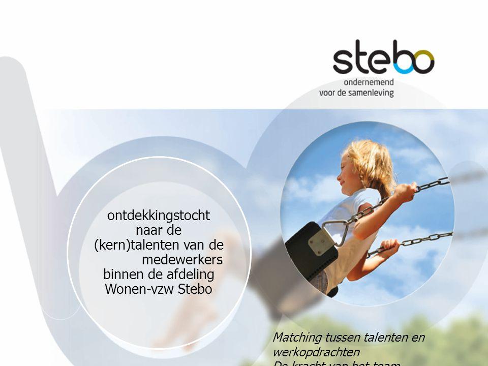 ontdekkingstocht naar de (kern)talenten van de medewerkers binnen de afdeling Wonen-vzw Stebo Matching tussen talenten en werkopdrachten De kracht van het team