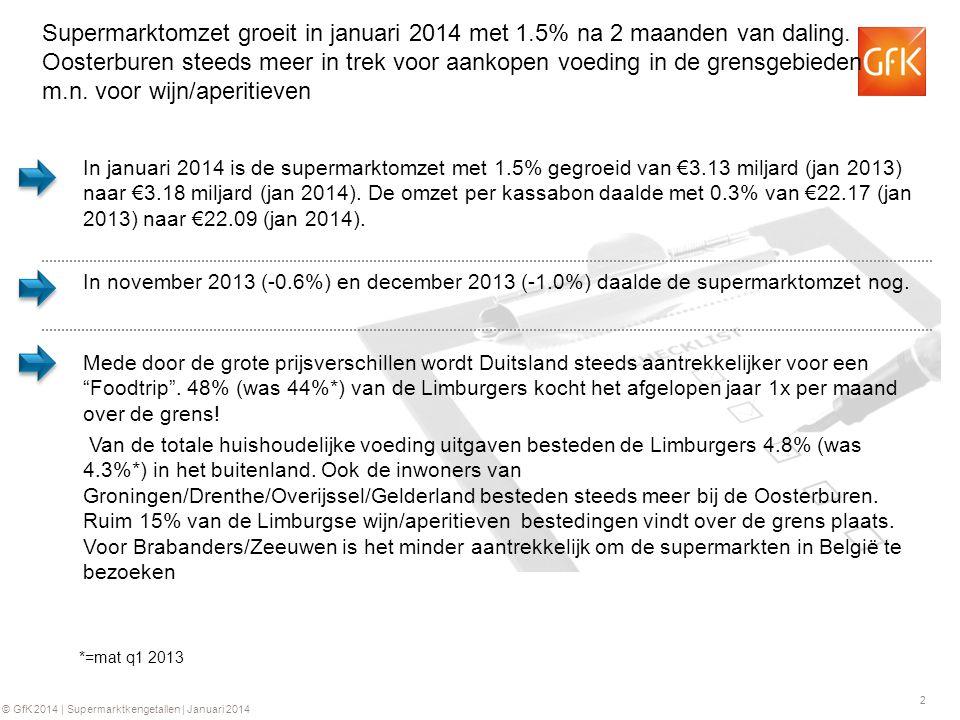 2 © GfK 2014 | Supermarktkengetallen | Januari 2014 Supermarktomzet groeit in januari 2014 met 1.5% na 2 maanden van daling. Oosterburen steeds meer i