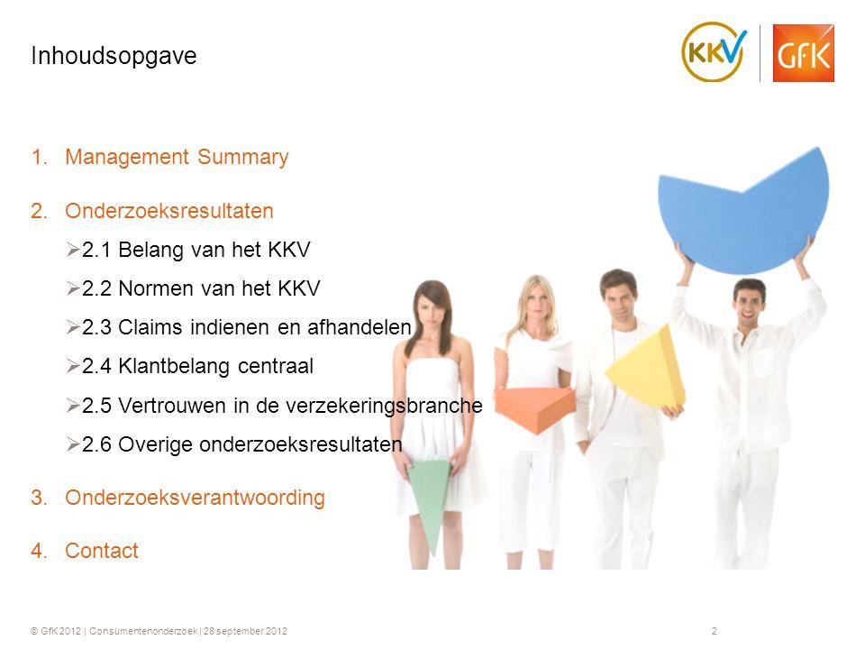 © GfK 2012 | Consumentenonderzoek | 28 september 20122 1.Management Summary 2.Onderzoeksresultaten  2.1 Belang van het KKV  2.2 Normen van het KKV 