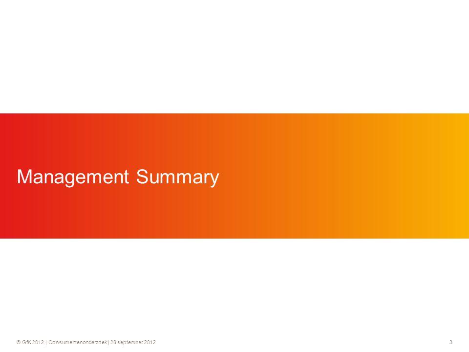 © GfK 2012 | Consumentenonderzoek | 28 september 201224 14% vindt het proces van claimen moeilijk en nog eens 60% niet moeilijk, maar ook niet makkelijk  Het proces van claimen wordt door 14% als moeilijk beschouwd en door 60% als niet moeilijk maar ook niet makkelijk.