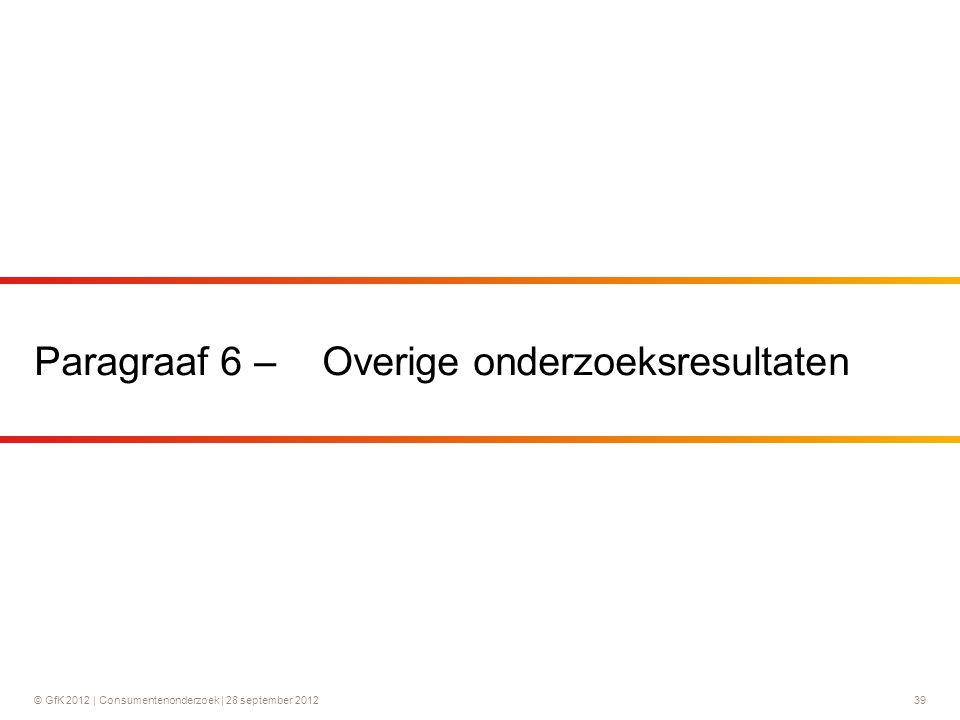 © GfK 2012 | Consumentenonderzoek | 28 september 201239 Paragraaf 6 – Overige onderzoeksresultaten
