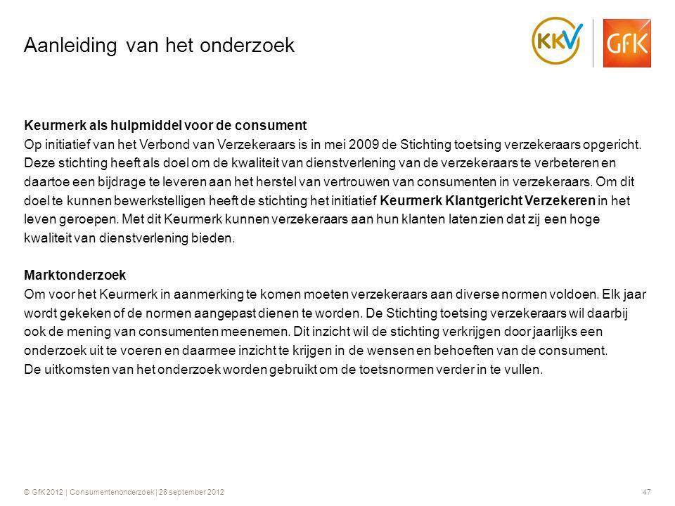 © GfK 2012 | Consumentenonderzoek | 28 september 201247 Aanleiding van het onderzoek Keurmerk als hulpmiddel voor de consument Op initiatief van het V
