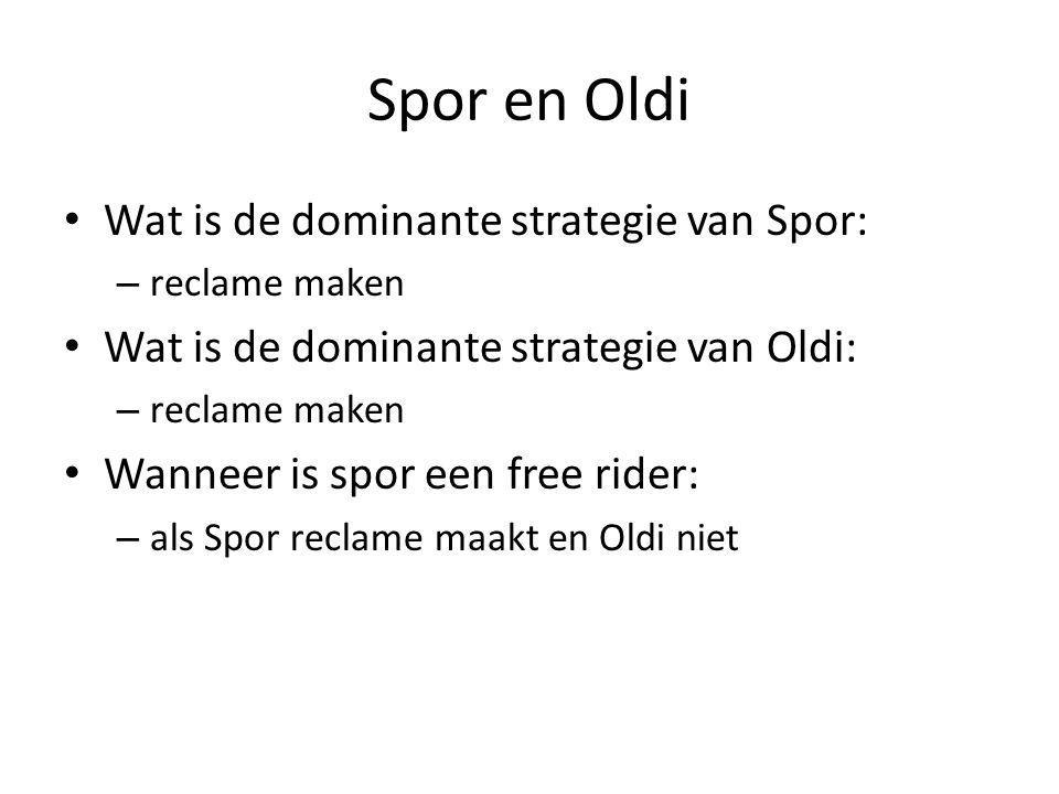 Spor en Oldi • Wat is de dominante strategie van Spor • Wat is de dominante strategie van Oldi • Wanneer is spor een free rider • Waarom is hier sprak
