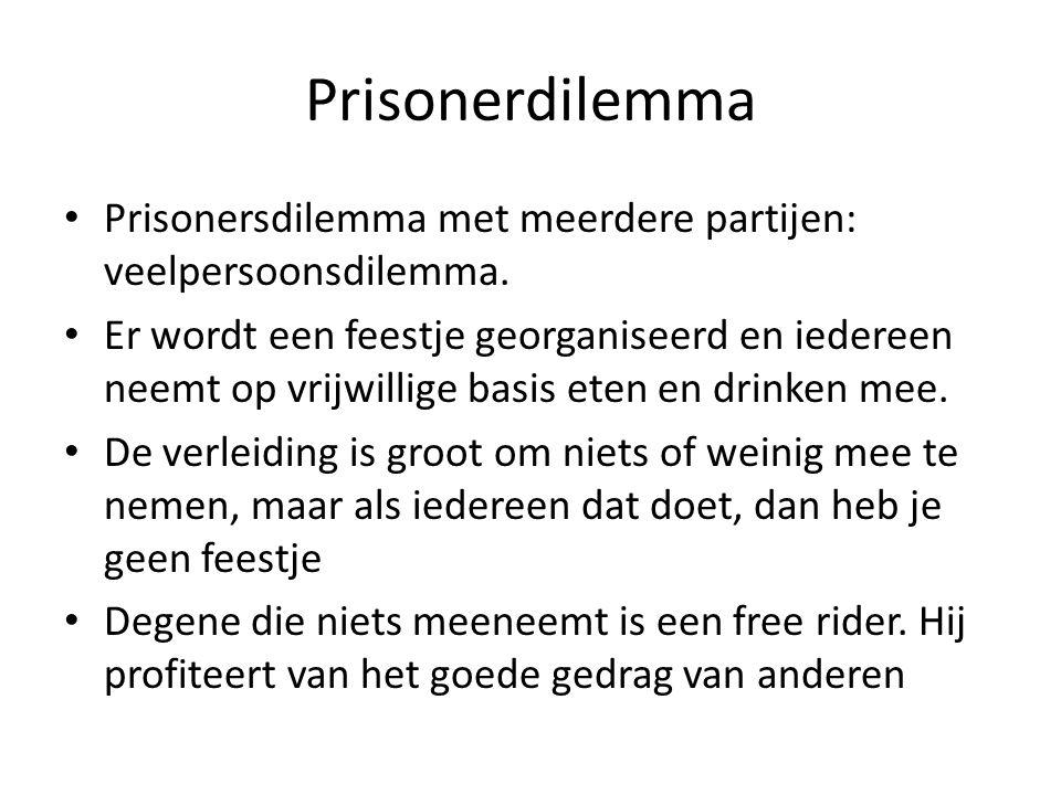 Spor en Oldi • Waarom is hier sprake van een prisonnersdilemma: – omdat ze niet weten van elkaar wat ze doen – Ze kiezen voor eigen belang – Het eindr