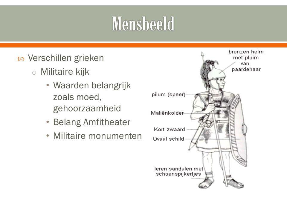  Verschillen grieken o Militaire kijk • Waarden belangrijk zoals moed, gehoorzaamheid • Belang Amfitheater • Militaire monumenten