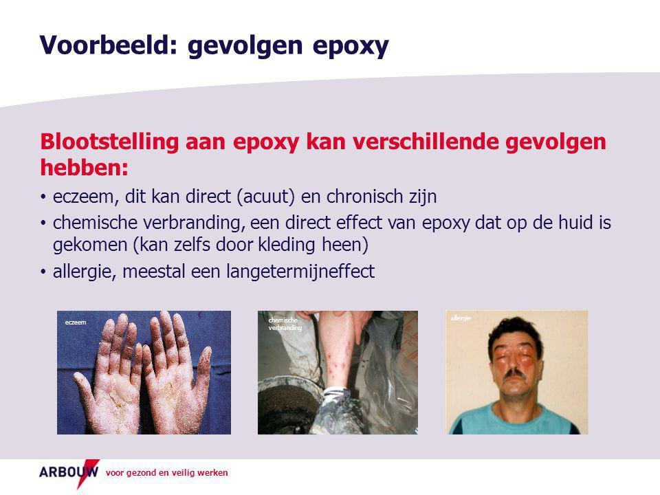voor gezond en veilig werken Blootstelling aan epoxy kan verschillende gevolgen hebben: • eczeem, dit kan direct (acuut) en chronisch zijn • chemische