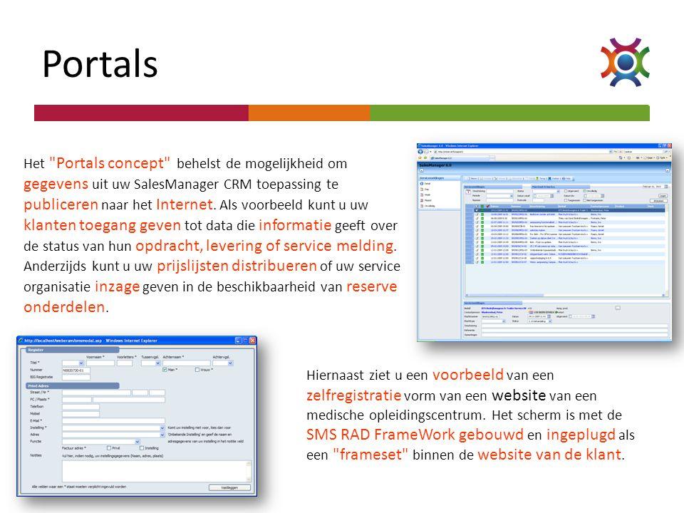 Portals Hiernaast ziet u een voorbeeld van een zelfregistratie vorm van een website van een medische opleidingscentrum. Het scherm is met de SMS RAD F