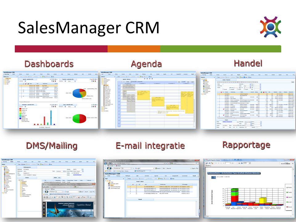 DashboardsAgenda Handel DMS/Mailing E-mail integratie Rapportage