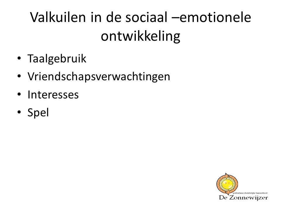 Valkuilen in de sociaal –emotionele ontwikkeling • Taalgebruik • Vriendschapsverwachtingen • Interesses • Spel
